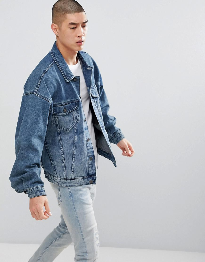 64563f100b Lyst - ASOS Oversized Denim Jacket In Mid Wash in Blue for Men