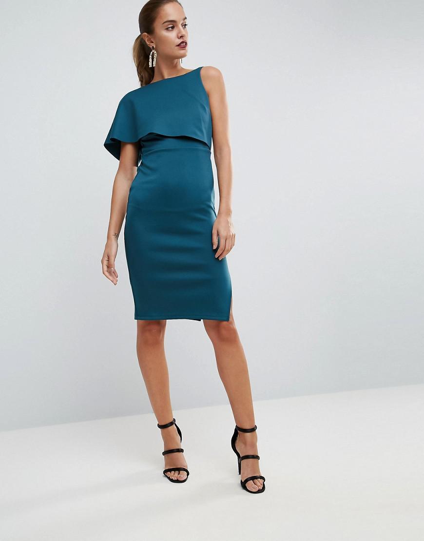 Asymmetric Cape Mini Dress - Cobalt Asos F8piy