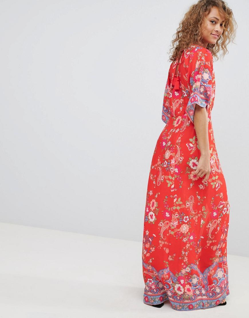 c16ed6b29b2 Lyst - Miss Selfridge Kimono Sleeve Floral Printed Maxi Dress in Red