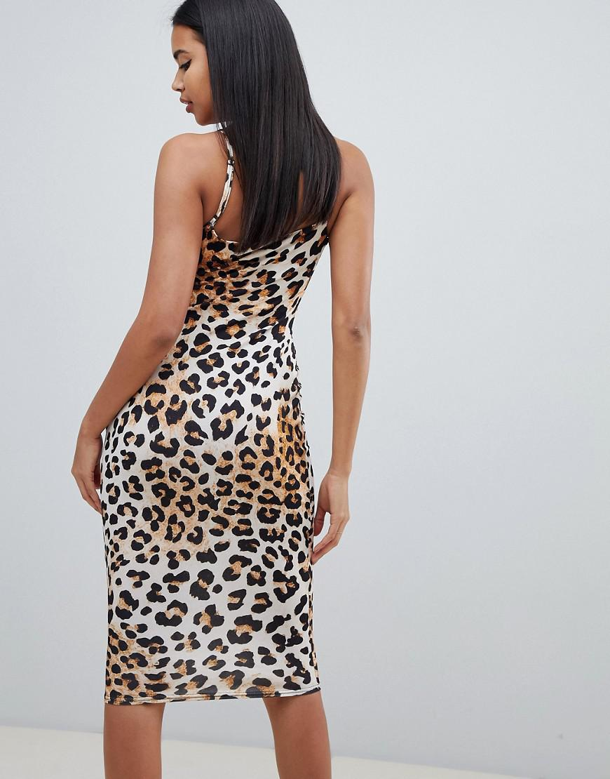 Lyst - ASOS Slinky Midi Bodycon Dress With Cowl Neck In Leopard Print f03bd7981