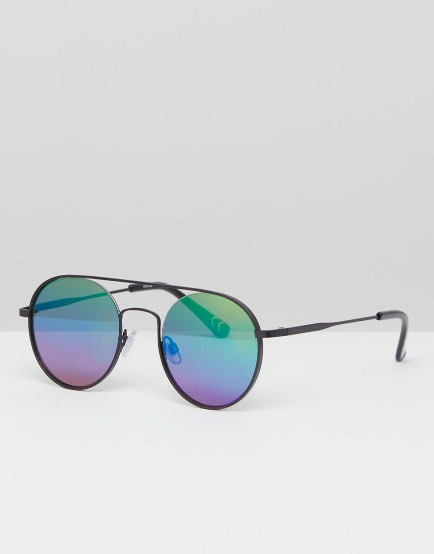 67deec10f31f ASOS Round Sunglasses In Black Metal With Rainbow Mirrored Lens in ...