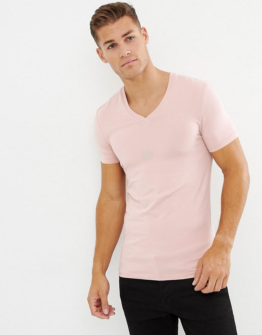 d7aced04 Lyst - ASOS Muscle Fit T-shirt With V Neck In Pink in Pink for Men