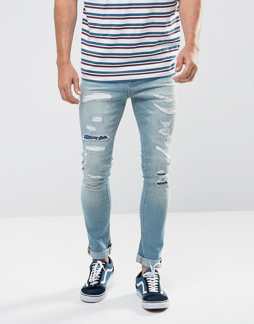 For Sale Cheap Online High Quality Cheap Price TALL Super Skinny Jeans In Vintage Bleach Wash Blue - Light wash vintage Asos Sale How Much Best Prices Cheap Online KAa6NbZ5