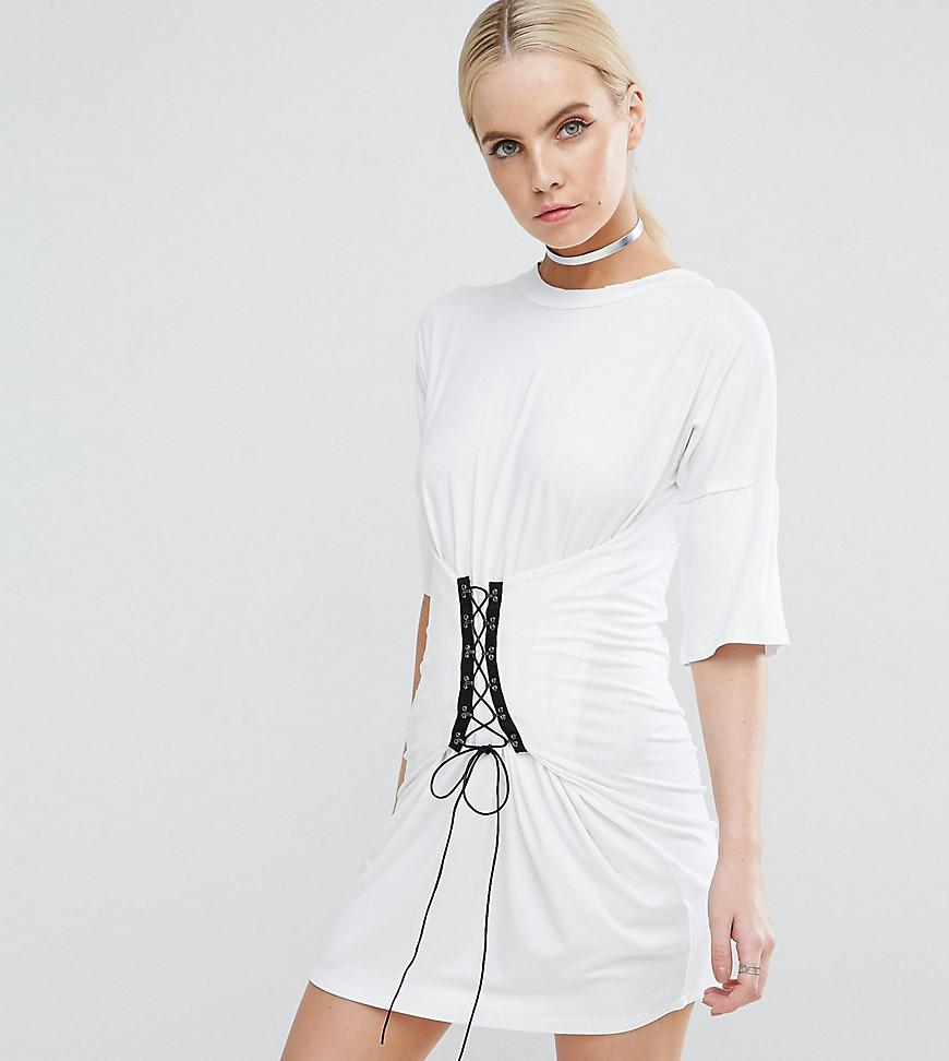 95d28b9aa6 Lyst - Boohoo Corset Detail T-shirt Dress in White
