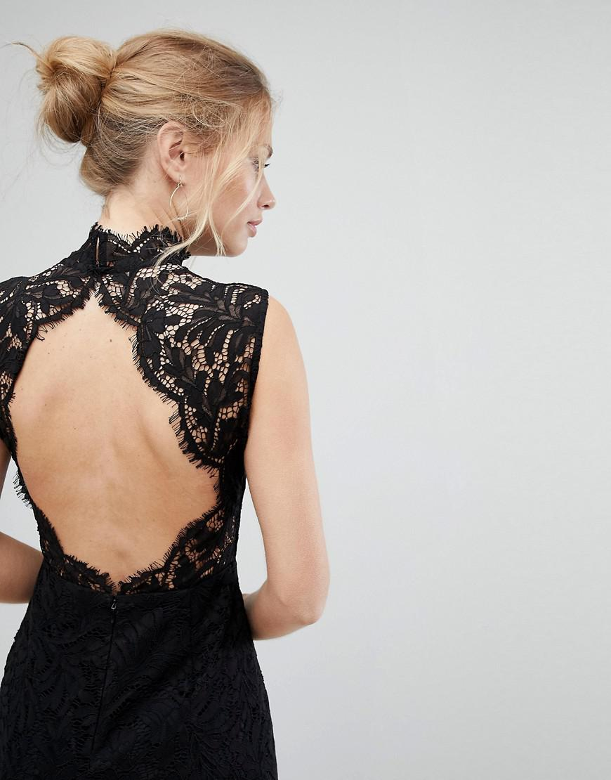 Buy Sale Online Reliable Lace High Neck Maxi Dress With Open Back And Front Slit - Black Aijek Professional For Sale B6slq3iUX