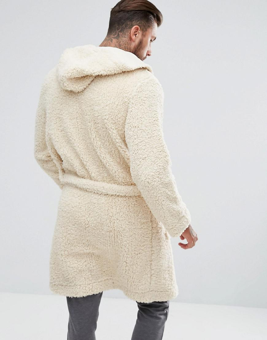 Lyst - ASOS Hooded Dressing Gown In Borg in Natural for Men 44bfa9007
