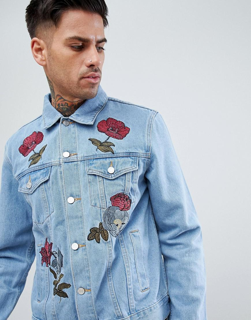 4ef9219aed Lyst - BoohooMAN Denim Jacket With Floral Embroidery In Light Wash ...