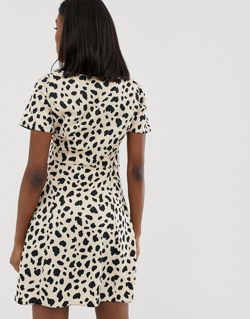 ad631f7ba692 ASOS Asos Design Maternity Button Through Mini Skater Dress In Leopard Print  - Lyst