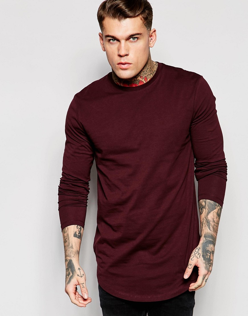 Asos Longline Long Sleeve T-shirt With Curve Hem In Burgundy in ...