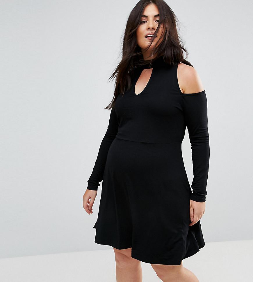 Asos Skater Dress With Cold Shoulder And Key Hole
