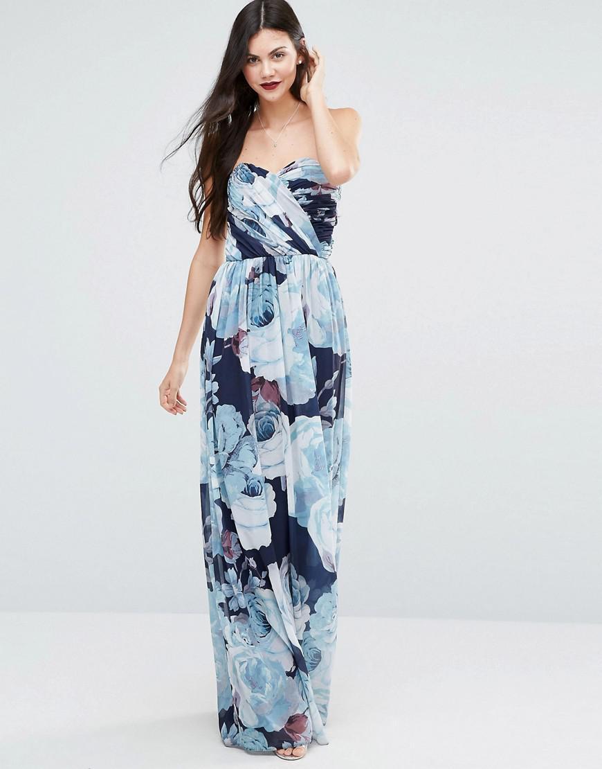 b292580d240d7 ASOS Wedding Chiffon Bandeau Blue Floral Printed Maxi Dress in Blue ...