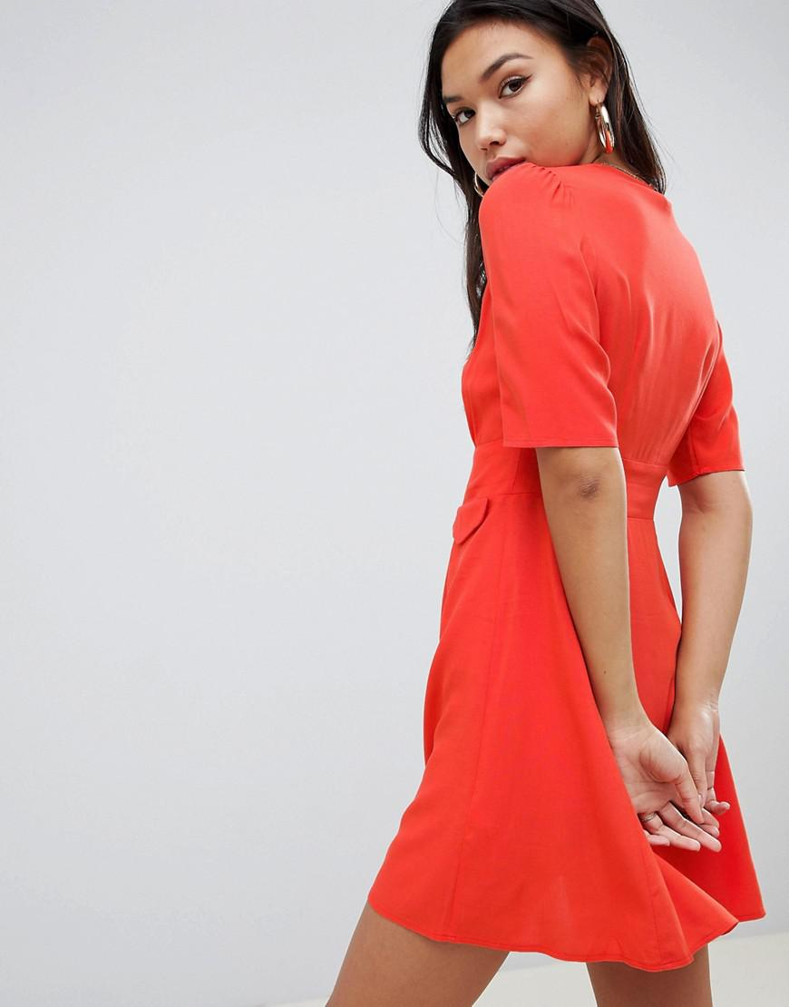 118a667406d2 Lyst - ASOS Button Through Mini Skater Dress With Pockets in Red