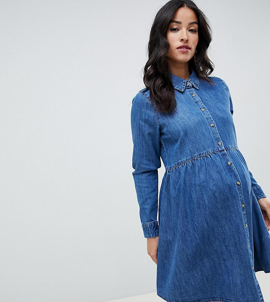 401ac0f6c8 ASOS. Women s Asos Design Maternity Denim Smock Shirt Dress In Midwash Blue