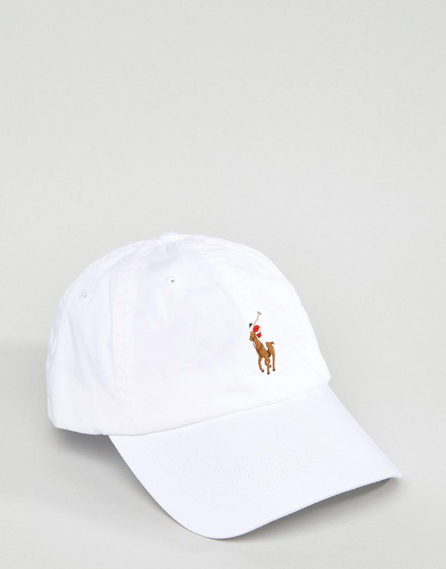 9543a5fbe37 Polo Ralph Lauren Baseball Cap Multi Player In White in White for ...