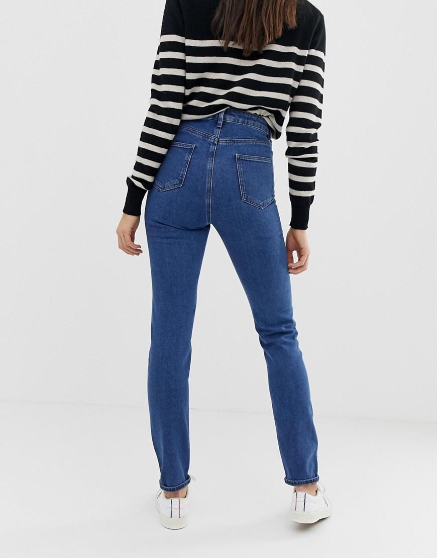 e41db86b ASOS Asos Design Tall Recycled Farleigh High Waist Slim Mom Jeans In Mid  Wash Blue in Blue - Lyst