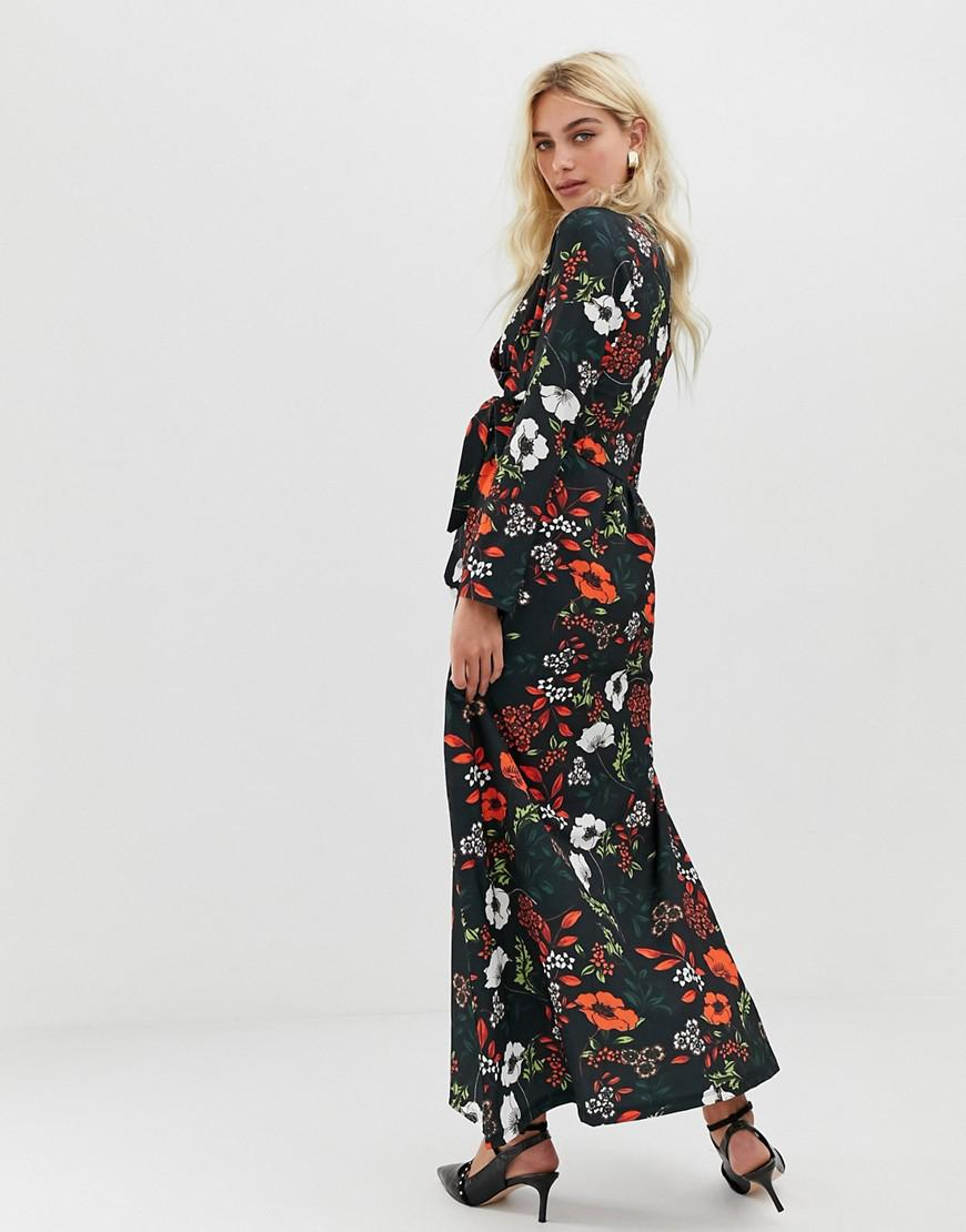 01d35ef5c17 Black Floral Midi Dress With Sleeves - Data Dynamic AG
