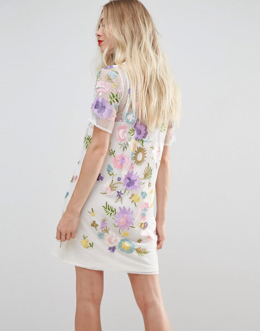 b4e21f3c397b7 Lyst - ASOS Asos Premium Embroidered Mesh T-shirt Dress in White