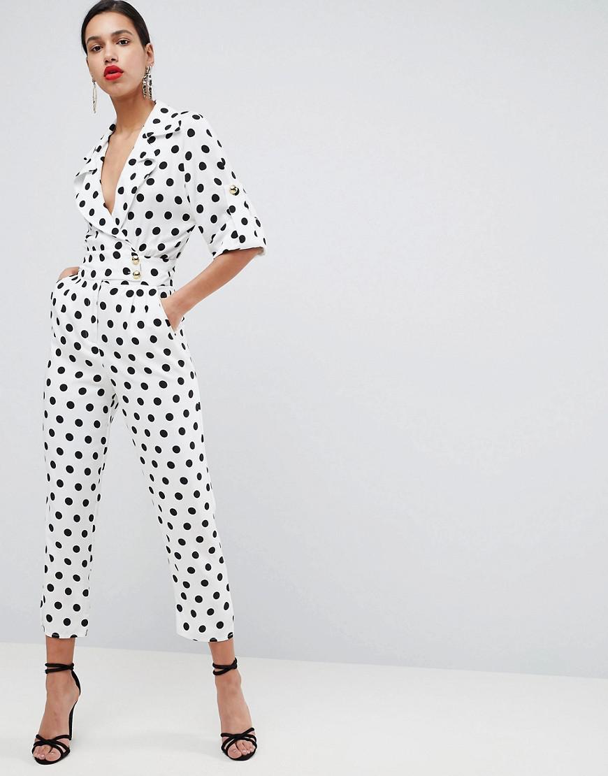 2b22d70f95b6 ASOS Asos Soft Tux Jumpsuit In Spot Print - Lyst