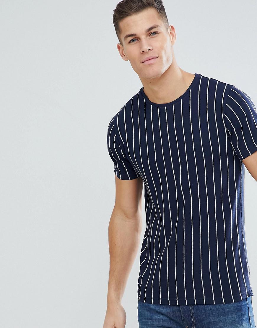 Long Sleeve T-Shirt In Stripe - Offwhite/blue/red Bellfield 100% Guaranteed Cheap Online Choice Cheap Online YKXQax