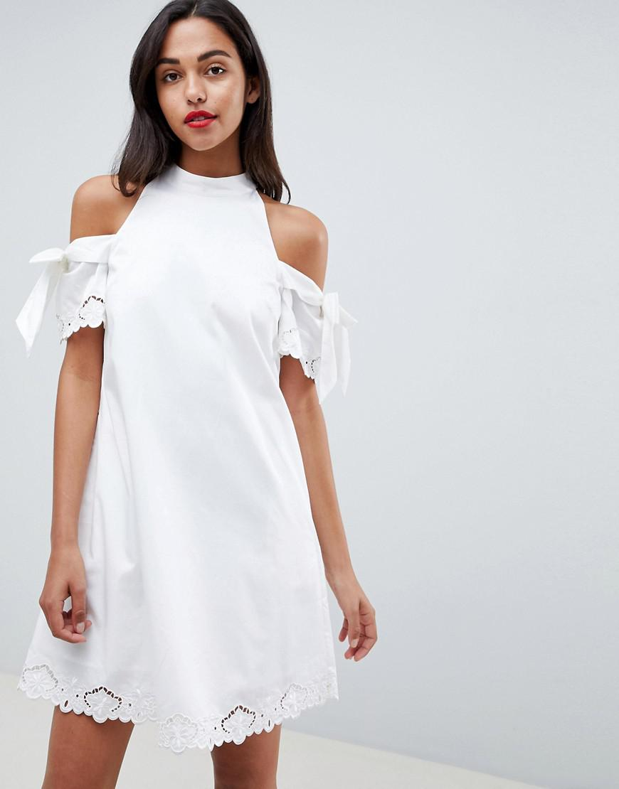 c6b522cc8ce1f6 Ted Baker Embroidered Cold Shoulder Dress in White - Save 18% - Lyst