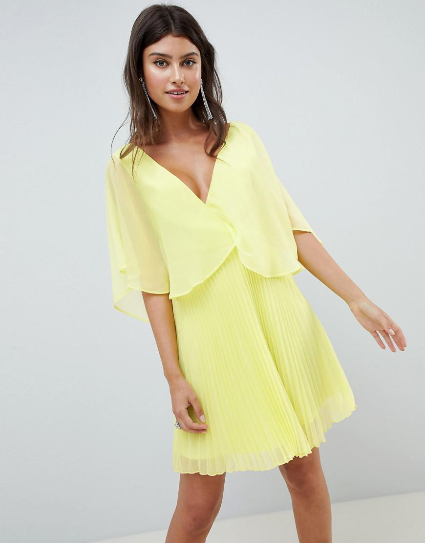 20b5fcc0d0 Lyst - ASOS Mini Dress With Pleat Skirt And Flutter Sleeve in Yellow