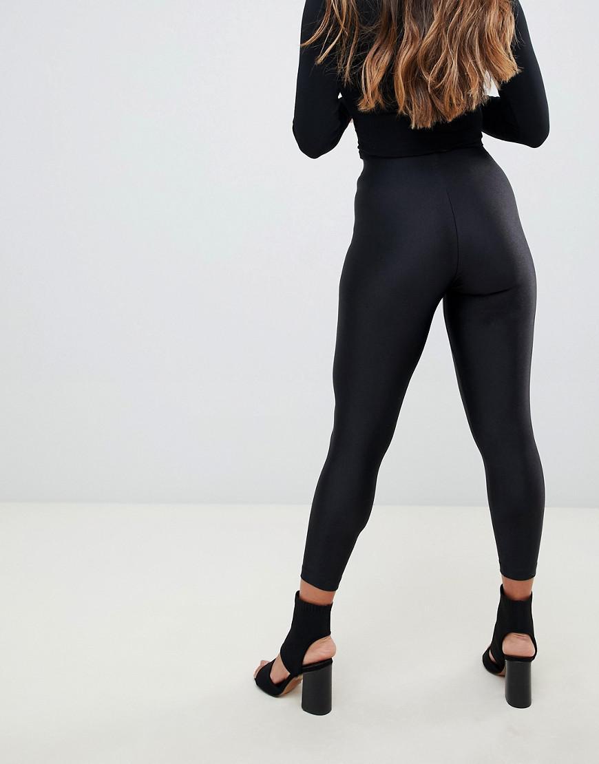04662b97108 ASOS Asos Design Petite Disco leggings in Black - Lyst