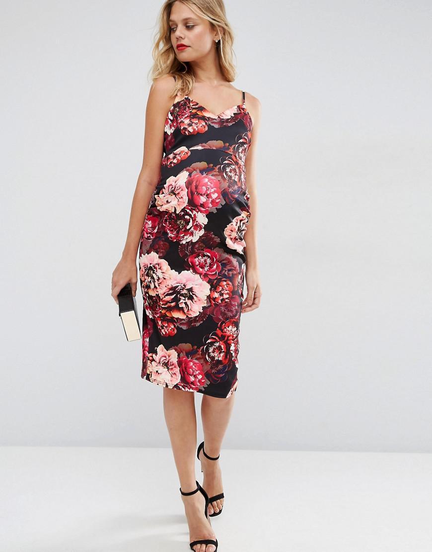 1daeaa21394 Lyst - ASOS Floral Scuba Deep Plunge Midi Dress