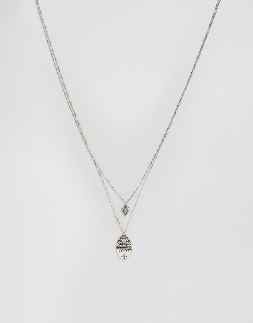 asos engraved pendant necklace in metallic for lyst