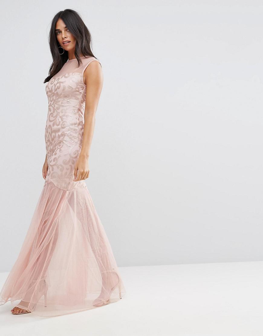 b14f3a3ec677 AX Paris Blush Sequin Bodice Chiffon Maxi Dress in Pink - Lyst