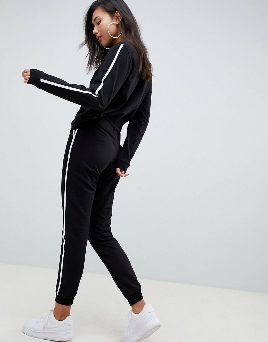 cc027ab6f9a Lyst - ASOS Tracksuit Cute Sweat   Basic jogger With Tie With Contrast  Binding in Black