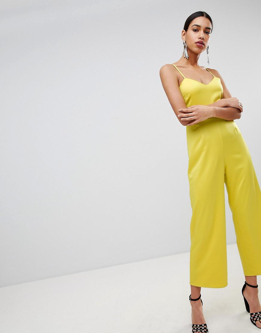 1a4e1952e4 Lyst - Fashion Union Cami Jumpsuit With Tie Back In Satin in Yellow