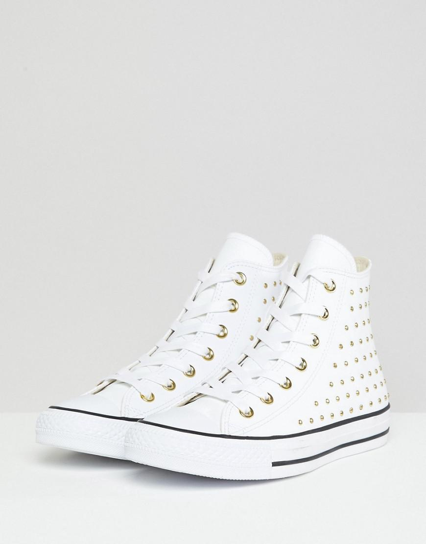 d73244ef5544 Converse. Women s Chuck Taylor All Star Leather Studded Hi Sneakers In White