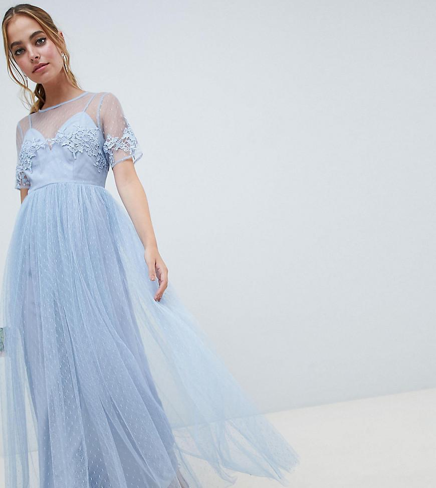 484fe726195 ASOS. Women s Green Asos Design Petite Lace And Dobby Mesh Overlay Maxi  Dress
