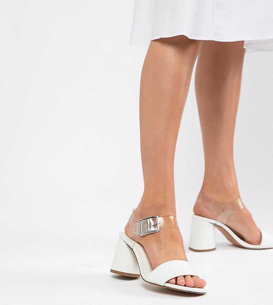 b6c2213e426e Lyst - ASOS Humming Bird Wide Fit Mid Block Heeled Sandals in White