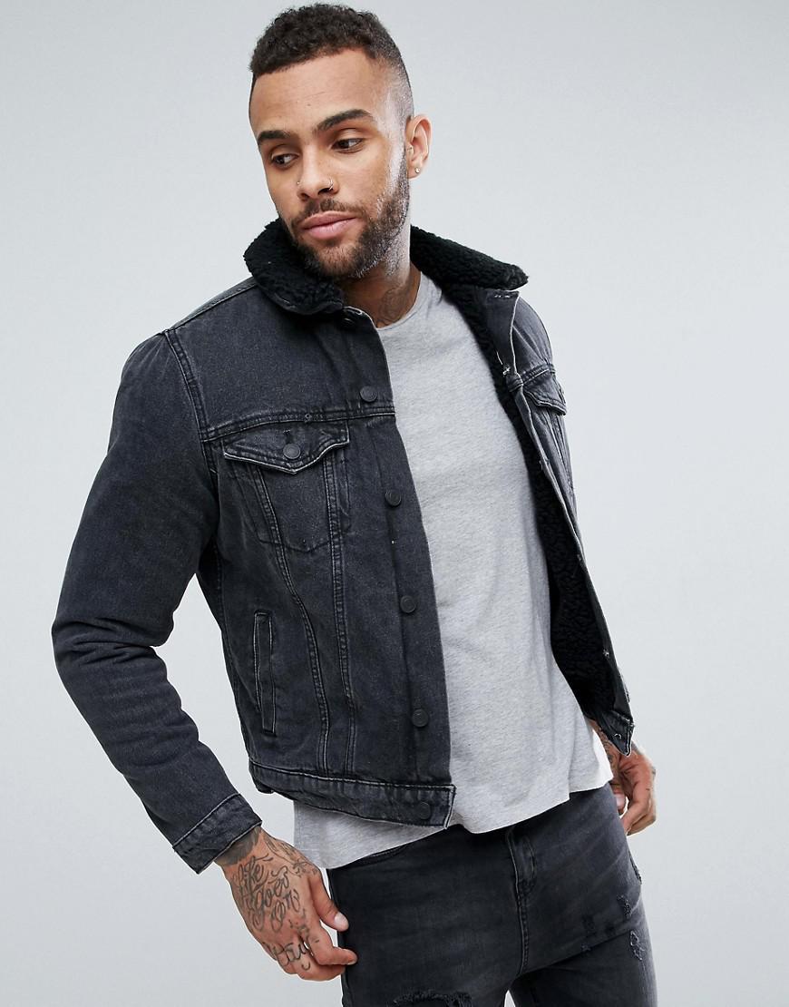 0b5d07fa3 New Look - Fleece Lined Denim Jacket In Black for Men - Lyst. View  fullscreen