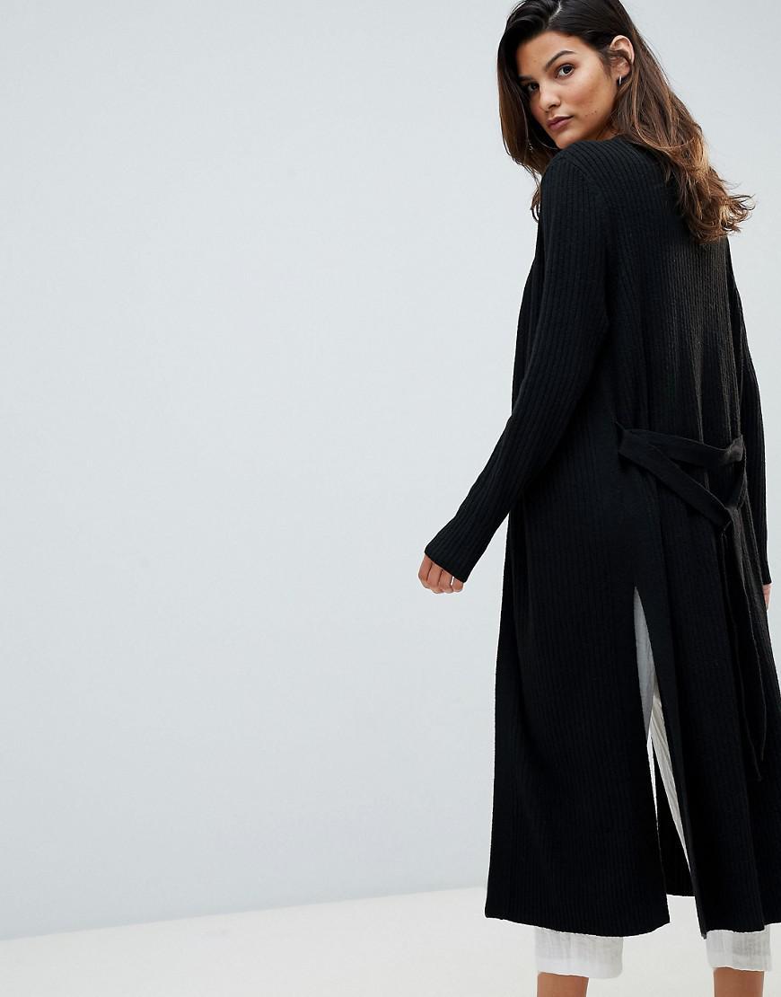 c89b294d88 Lyst - Micha Lounge Maxi Cardigan With Side Split in Black