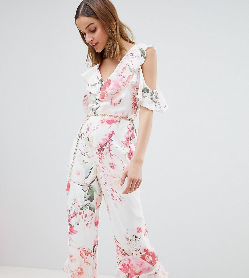6538e557fd9 River Island. Women s Floral Print Frill Front Jumpsuit