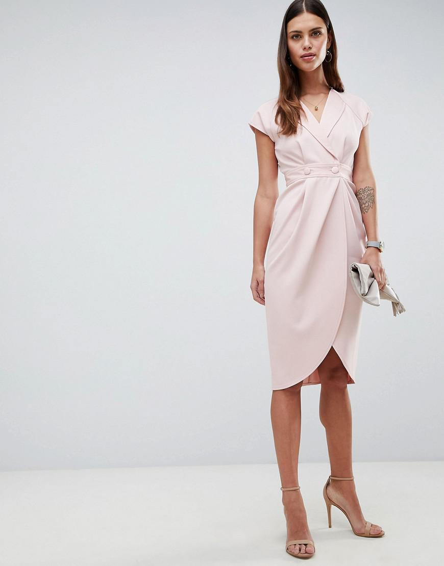 36f8516e7e0f ASOS Tux Midi Dress With Satin Detail in Pink - Lyst