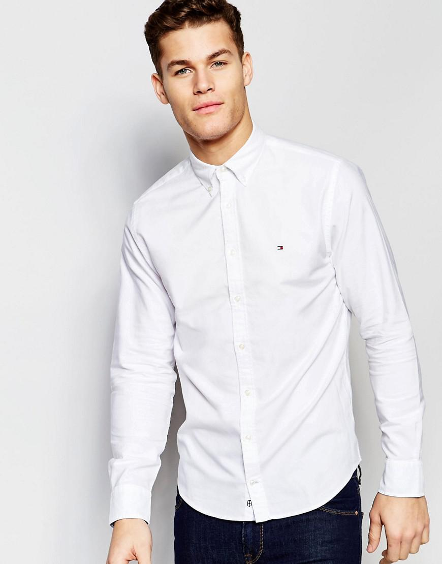 3d5d8e7fa Tommy Hilfiger Oxford Shirt In New York Regular Fit In White in ...