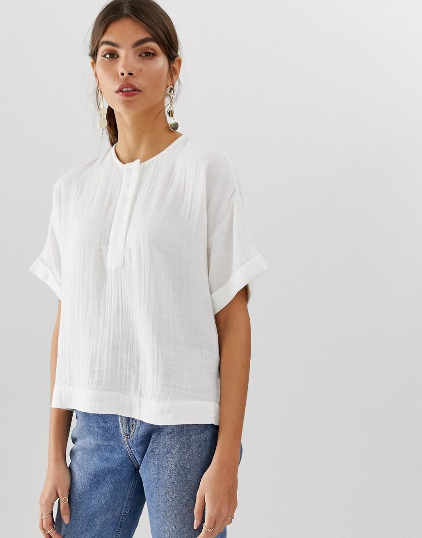37be666a23739a Lyst - Y.A.S Crew Neck Cotton Boxy Shirt in White