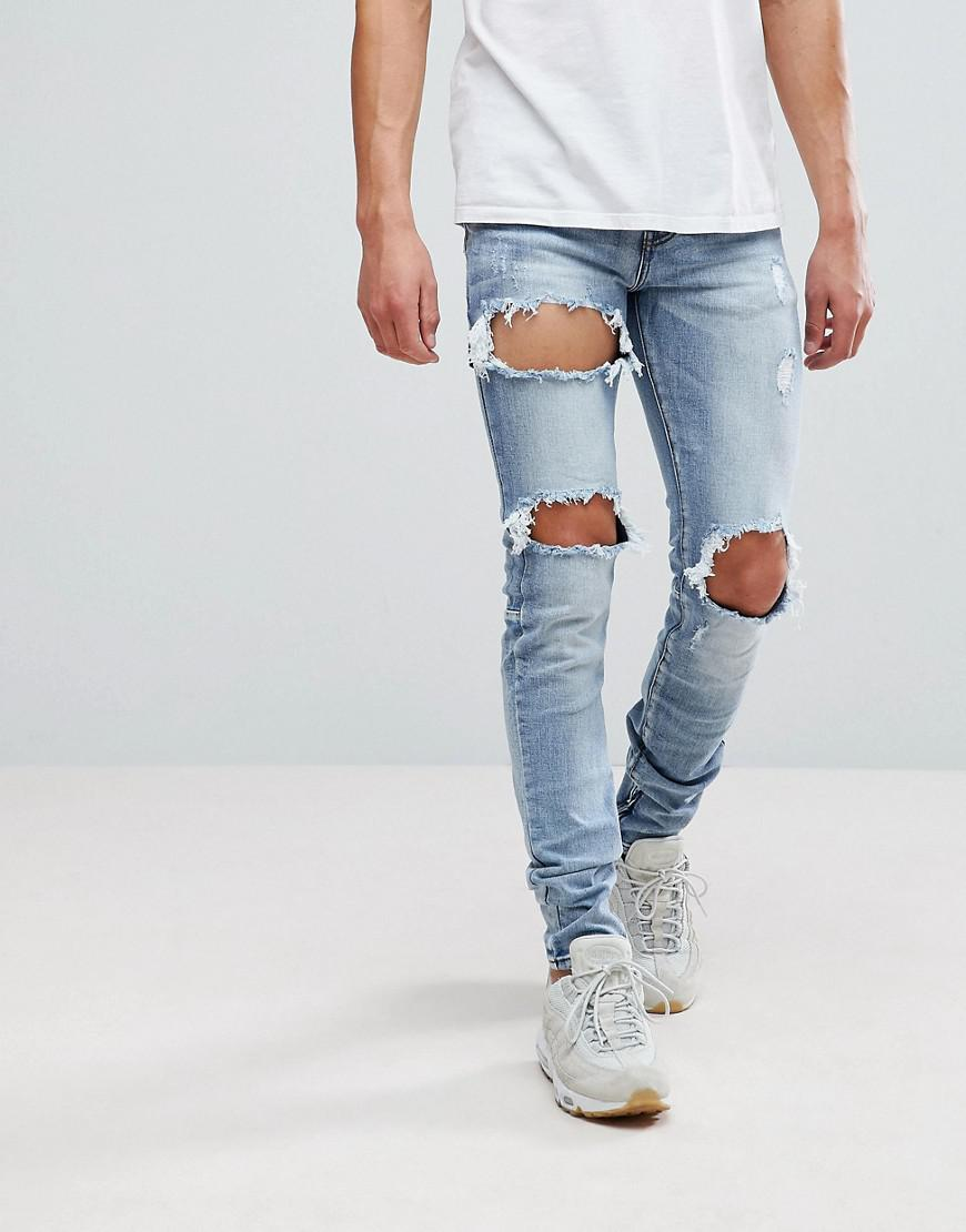 a871b744b1 Sixth June Super Skinny Jeans In Midwash Blue With Distressing And ...