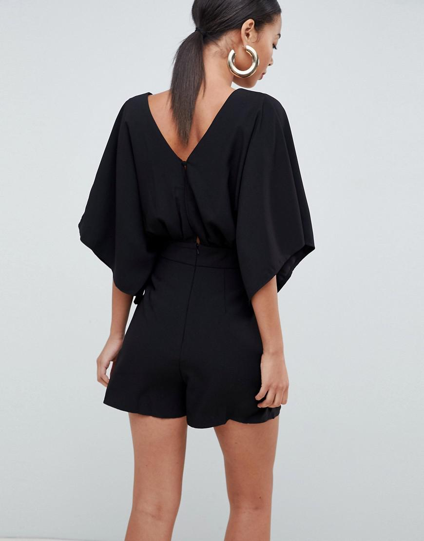 c4641e37ba ASOS Playsuit With Kimono Sleeve And Cut Out in Black - Lyst