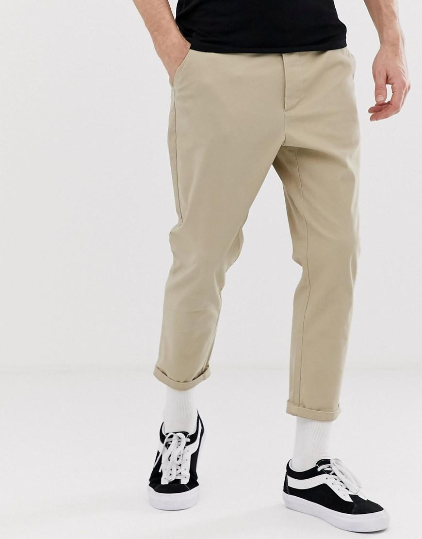 2727955e6c16b7 ASOS Tapered Cropped Chinos In Putty in Natural for Men - Lyst