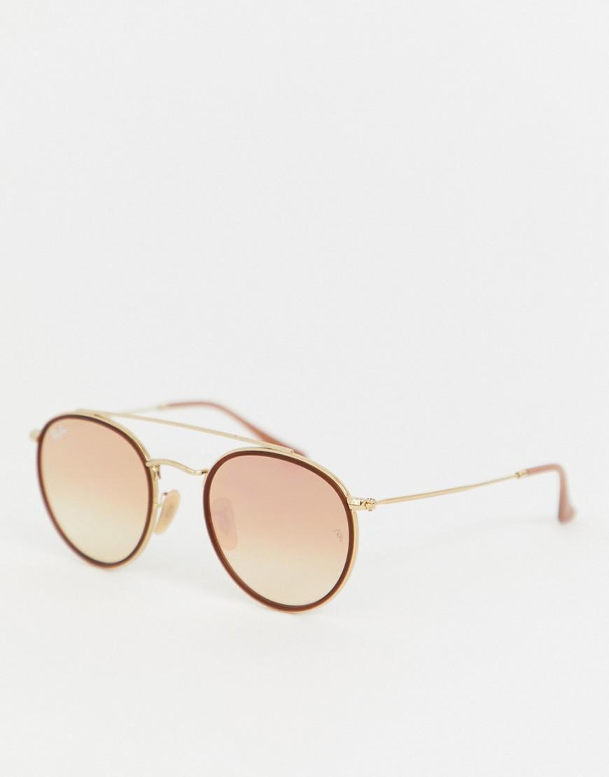 9e2cd34c2e Ray-Ban - Pink Gafas de sol redondas con doble barra 0RB3647N de for Men.  Ver en pantalla completa
