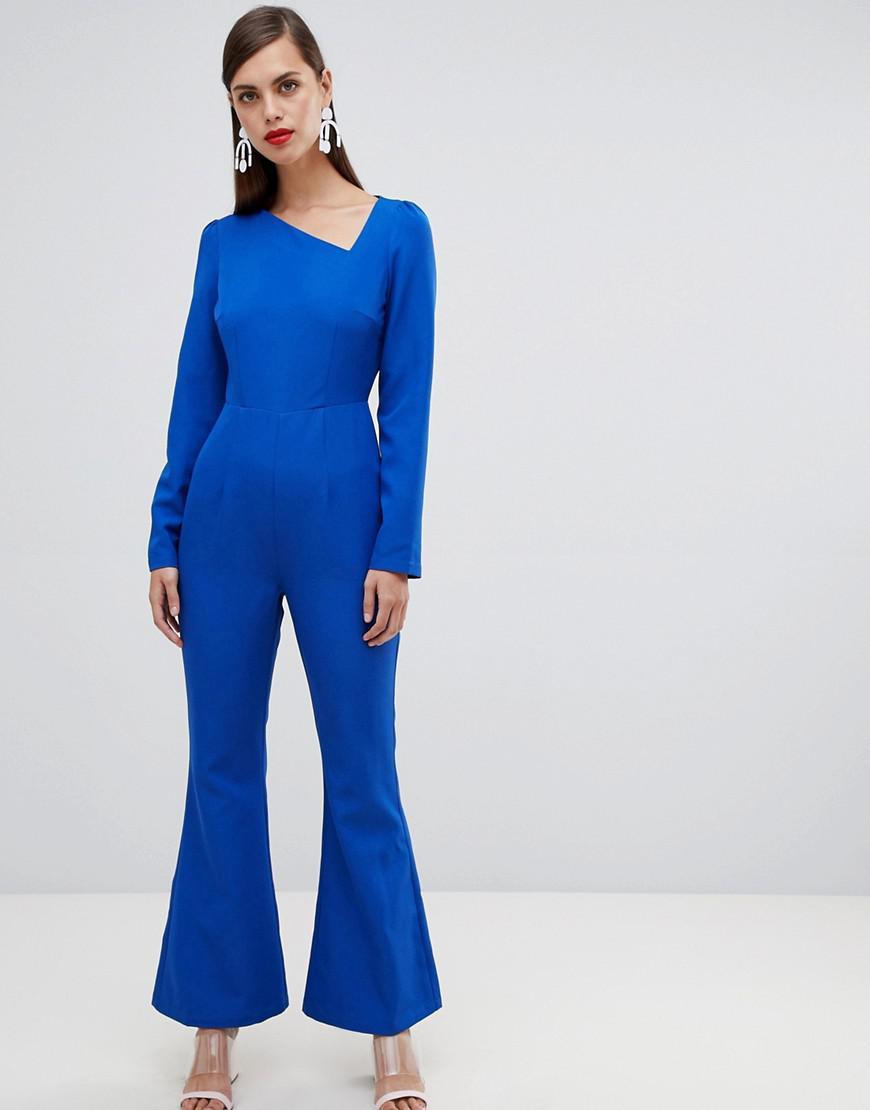 65644cae4b24 Lyst - Unique21 Unique 21 Assymetric Long Sleeve Jumpsuit in Blue