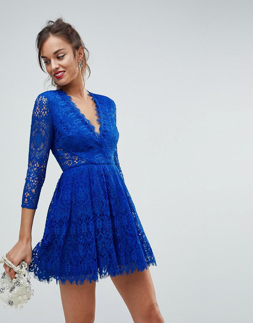 Lyst - Asos Long Sleeve Lace Mini Prom Dress in Blue