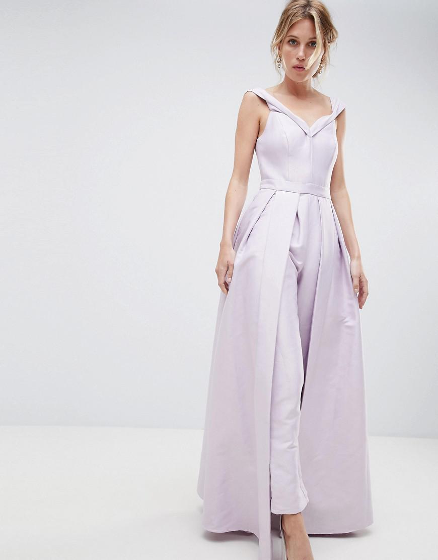 f89571d9c9 Lyst - True Decadence Premium Bardot Tailored Jumpsuit With Skirt ...
