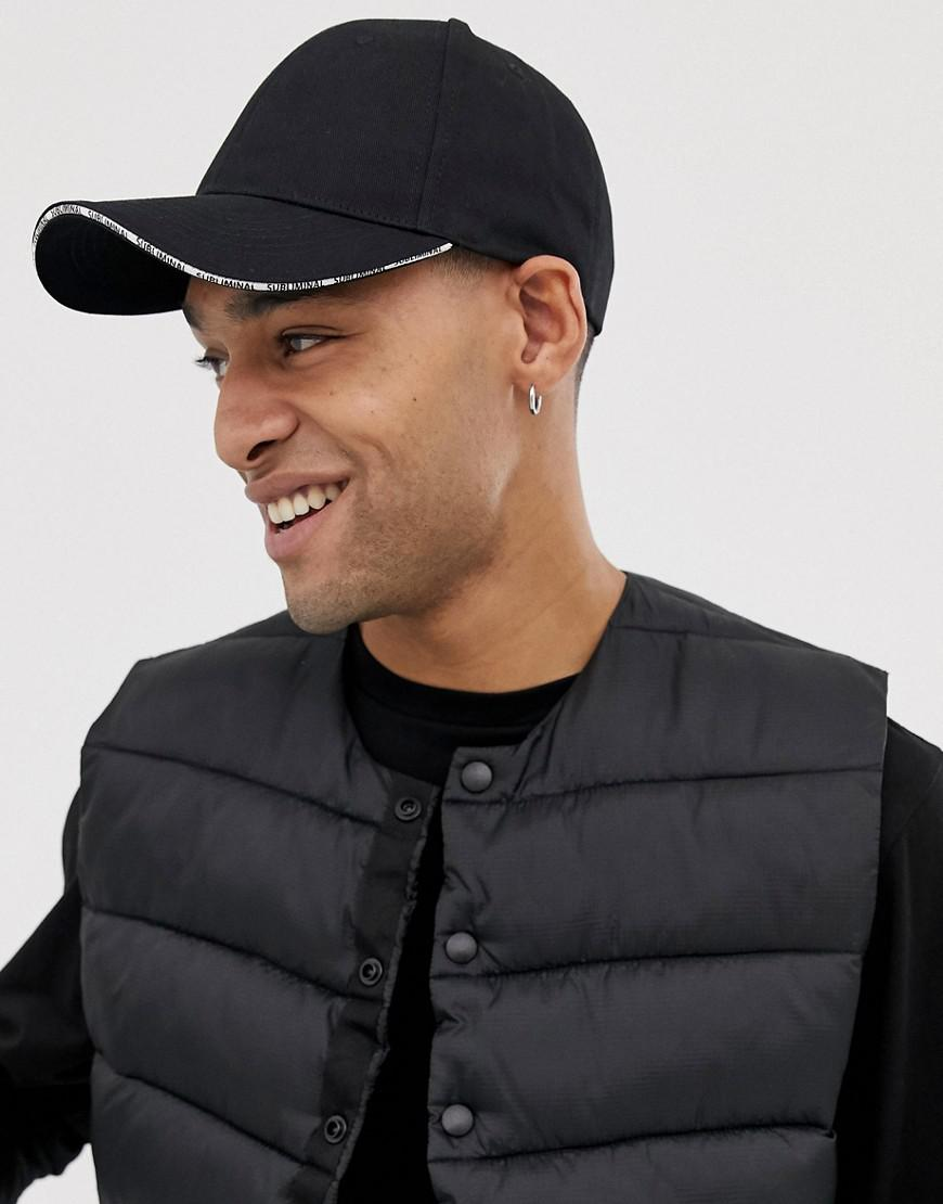 0a8defbac25 Lyst - Asos Baseball Cap In Black With Peak Detail in Black for Men
