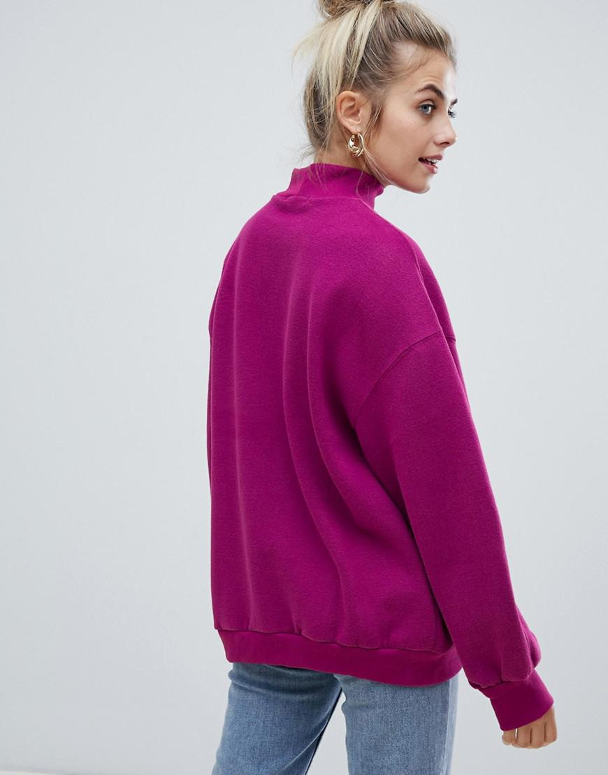Lyst - Bershka High Neck Oversized Sweater In Purple in Purple 9573e0888