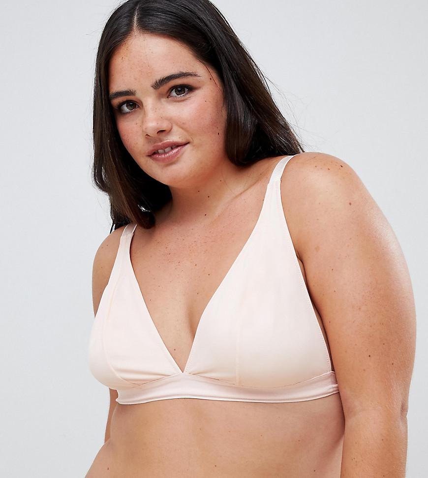 7adf1db83a ASOS. Women s Natural Asos Design Curve Basic Microfibre Triangle Bra In Tonal  Beige